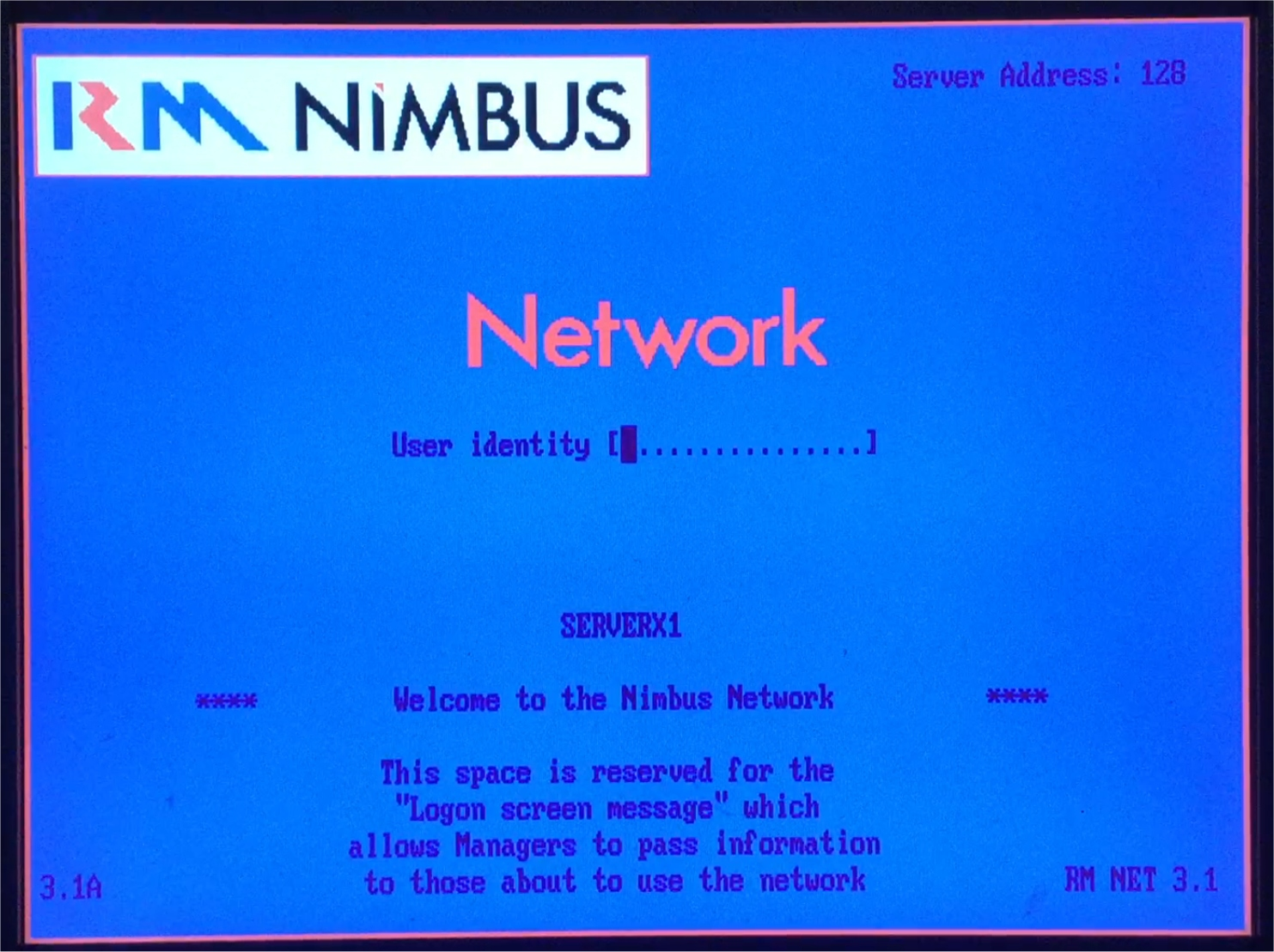 RM Nimbus login screen